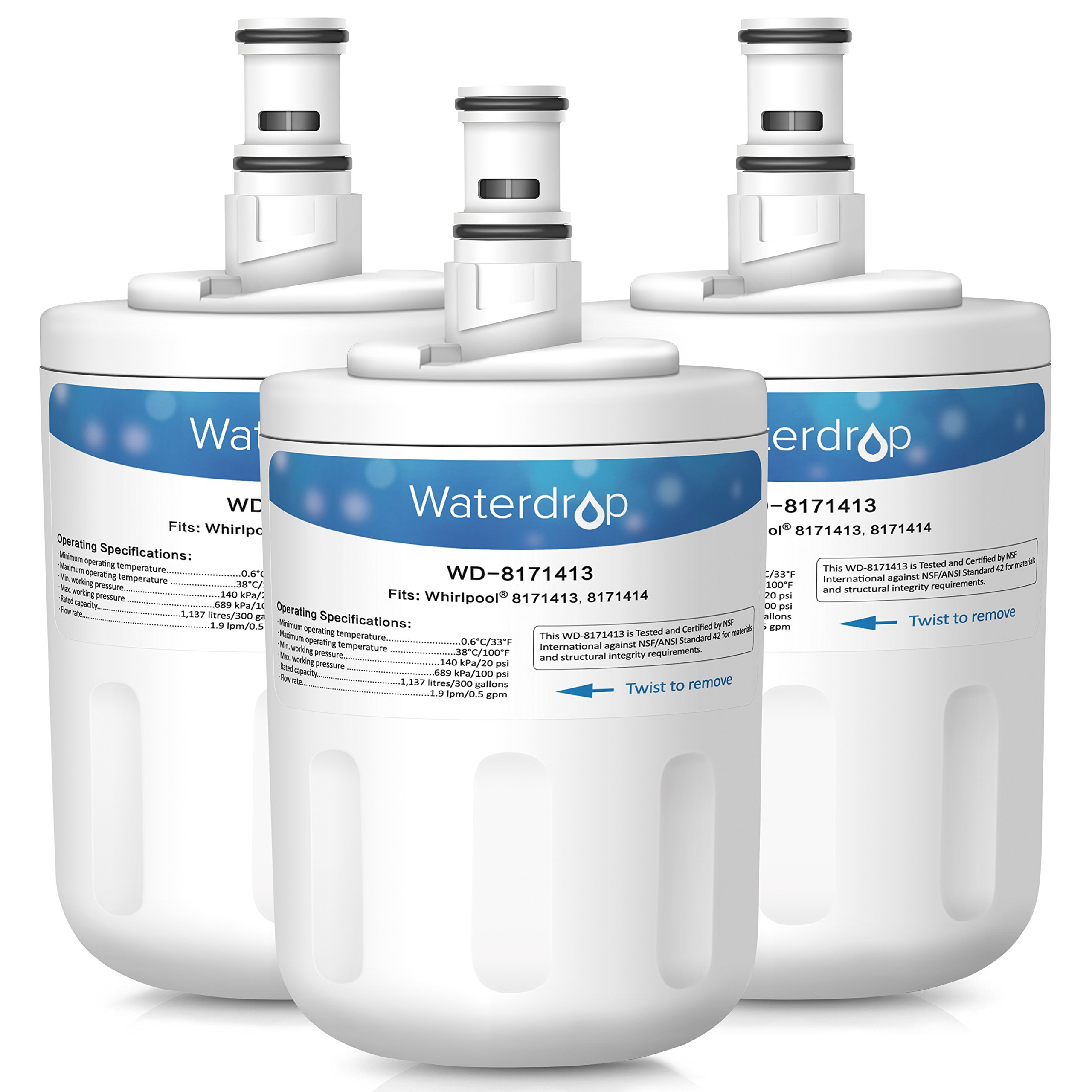 Waterdrop 8171413 Replacement Refrigerator Water Filter, Compatible with Whirlpool 8171413, 8171414, EDR8D1, Kenmore 46-9002 (3 Pack)