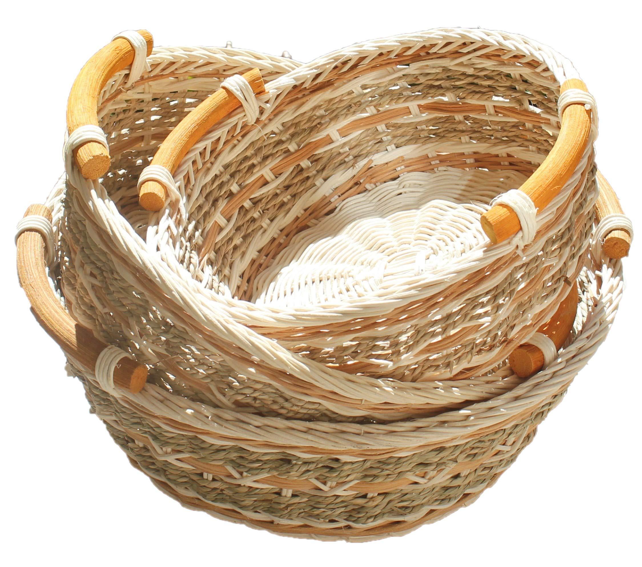 ShopOnNet RT450120-3 Handwoven Round Wicker Storage Basket Curve Pole Handle in Gray Brown (Set of 3)