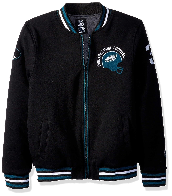 the best attitude 74f3f 6cb9a NFL Philadelphia Eagles Men's Full Zip Fleece Vintage Letterman Varsity  Jacket, X-Large, Black