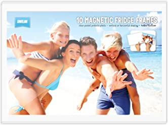"BULK BUY - Pack of 10 magnetic photo fridge frames clear 4x6"" (10x15cm)"
