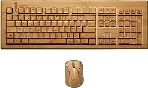Bamboo Electronics - AZERTY Bamboo Juego de teclado y mouse inalámbricos, Madera natural, Tacto agradable, Fácil de usar, Decorativo y funcional ...