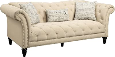 Picket House Furnishings Twine Sofa with Pillows in Natural