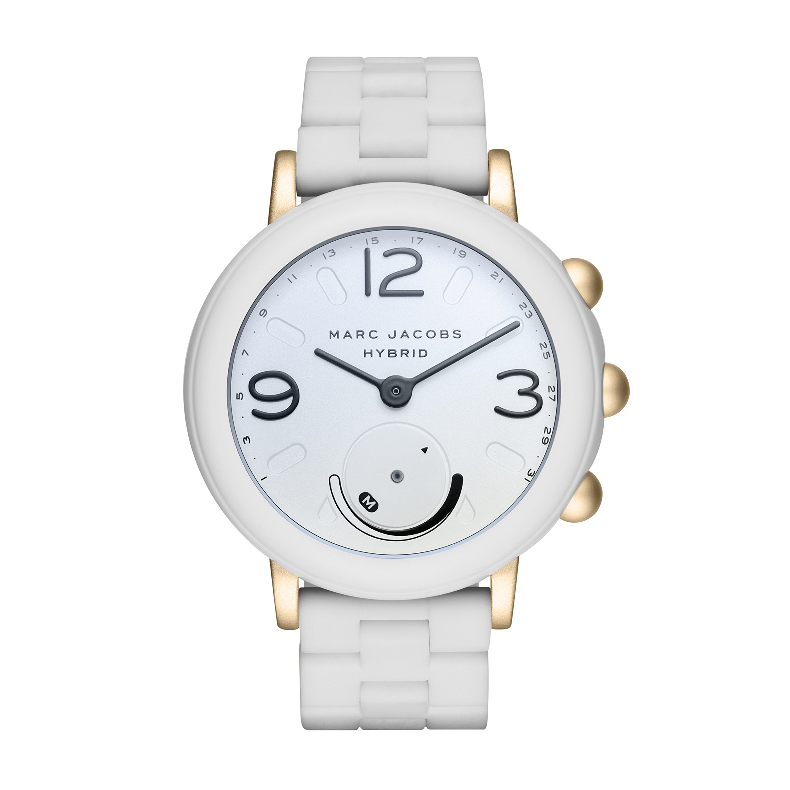 Marc Jacobs Women's Riley Aluminum and Silicone Hybrid Smartwatch, Color: Gold-Tone, White (Model: MJT1004) by Marc Jacobs