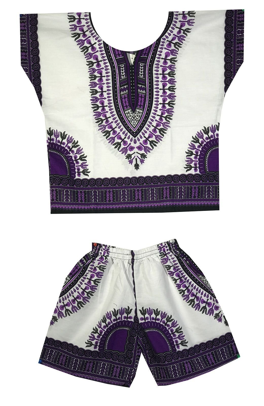DecoraApparel Kids Dashiki Suit 2 to 5 years old set Baby Shirt with Short One Size (White Purple)