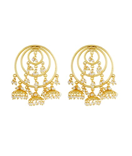 Adorelabel gold plated big jhumka pearl drop wedding party wear earrings  jewellery for girls and women 00c517519ac0