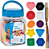 Edx Education - 13832 Large Buttons - Mini Jar - Lacing Activity - Sensory and Fine Motor Skill Development - Math…