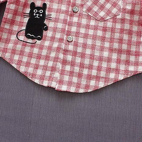 feiXIANG Ropa de bebé recién Nacido bebé niño Manga Larga de Dibujos Animados Gato Camisa a Cuadros Cardigan recién Nacido Caballero Camisa de Manga Larga ...