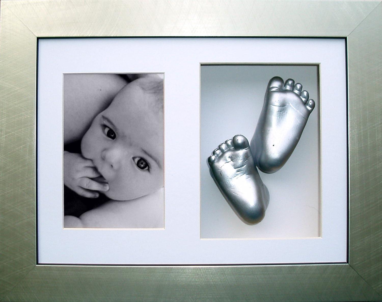 New Unique Baby Casting Kit Christening Gift Silver Hand /& Feet White 3D Frame
