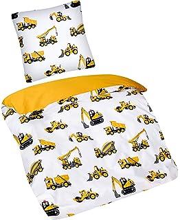 Bettw/äscheset f/ür Kinder Bloomsbury Mill Bettbezug 120cm x 150cm und Kissenbezug f/ür Kleinkinder//Babybetten Lastwagen Baufahrzeuge Bagger /& Kr/äne
