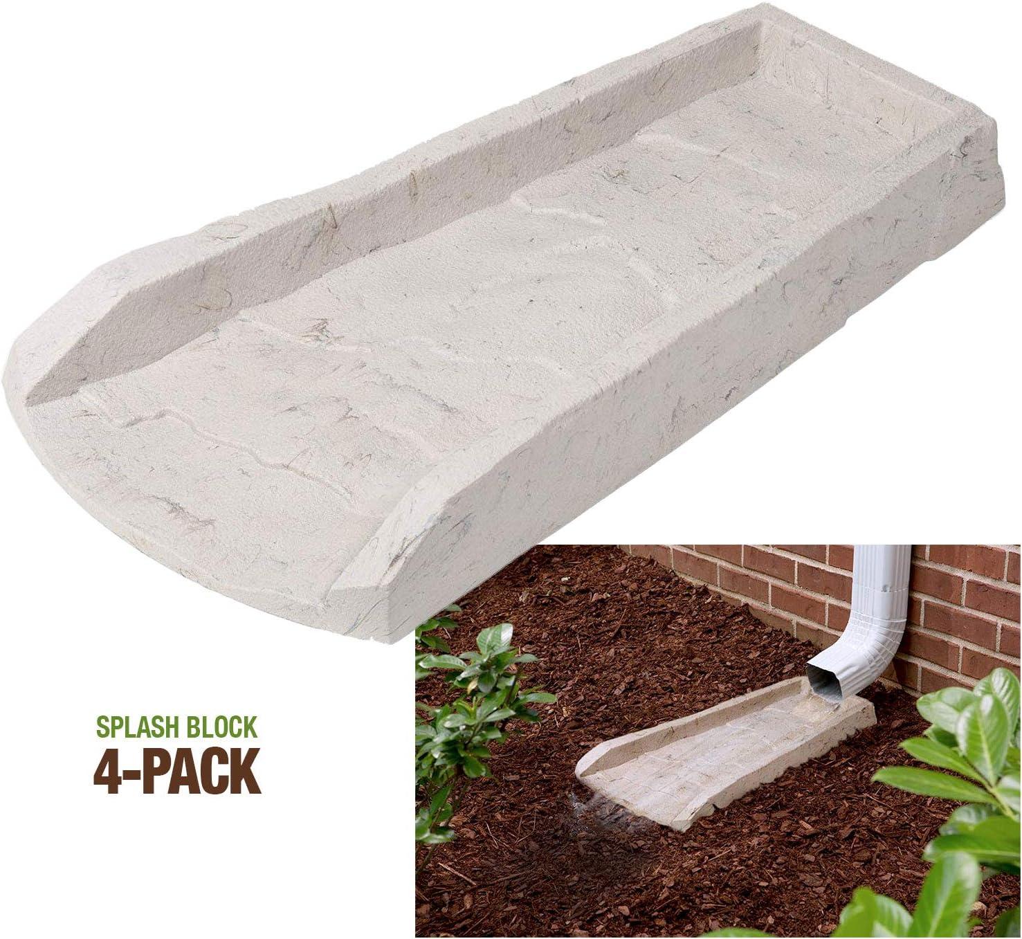 2-Pack Decorative Downspout Natural Stone Texture Splash Block Rain Gutter Drain Extender