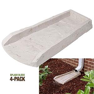 4-Pack Decorative Downspout Natural Stone Texture Splash Block Rain Gutter Drain Extender