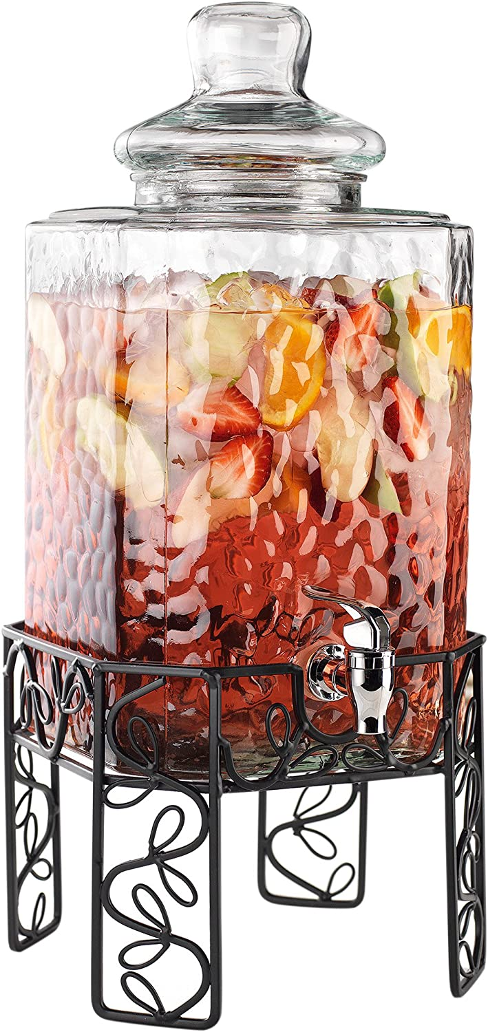 Home Essentials 4983 Bon Appetit Beverage Dispenser on Stand, 2.25 Gallon, Clear