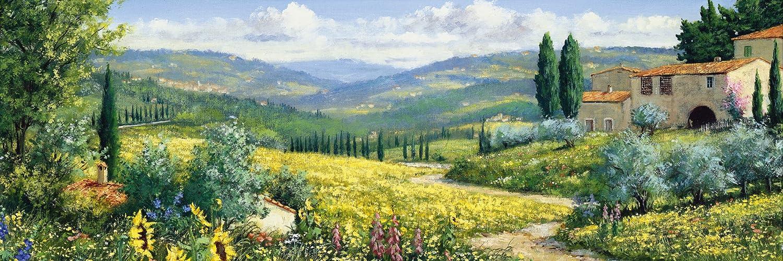 Artland Qualitätsbilder I Bild auf Leinwand Leinwandbilder Wandbilder 120 x 40 cm Landschaften Felder Malerei Grün B0TN Blick auf Toskana