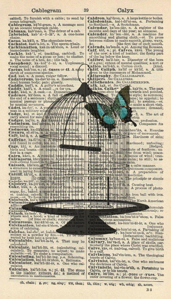 Birdcage Art Print - Butterfly Art Print - Vintage Art Print - Steampunk - Vintage Dictionary Art Print - Victorian Art Print - Wall Art Print - Gift - Artwork - Dictionary Page - Dictionary Art - Vintage Art - Illustration - Wall Hanging - Home Décor - H
