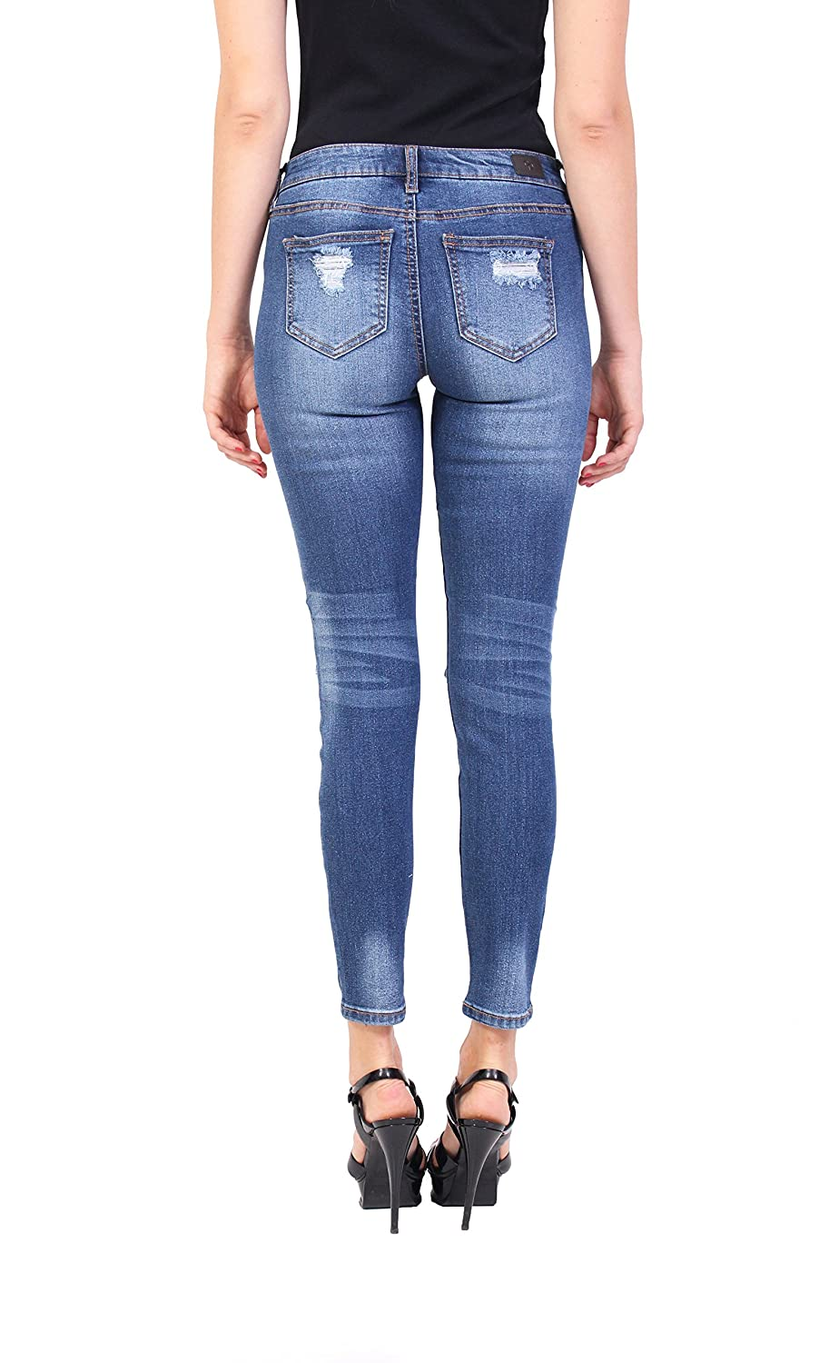 de4005d392a Celebrity Pink Jeans Women Middle Rise Distressed Ankle Skinny Jeans with  Open Knee Medium Denim at Amazon Women's Jeans store