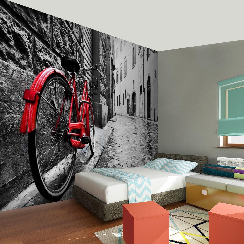 Papel Pintado Fotográfico Bicicleta roja 352 x 250 cm Tipo Fleece ...