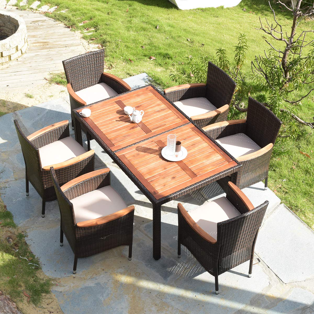 Tangkula 7 PCS Outdoor Patio Dining Set, Garden Dining Set w Acacia Wood Table Top, Stackable Chairs with Soft Cushion, Poly Wicker Dining Table and Chairs Set Brown