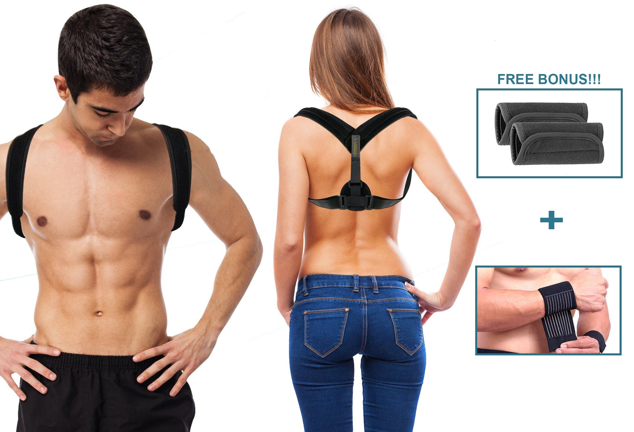 Posture Corrector for Men and Women, Effective, Comfortable Orthopedic Posture Brace for Slouching and Hunching, Adjustable, Good for Back and Neck Pain Relief