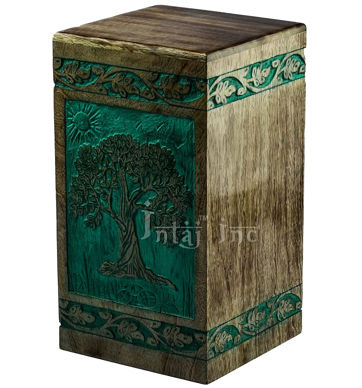 Intaj Inc Tree of Life Engraved Rosewood Cremation Urn for Human Ashes, Adult Large Wooden Keepsake Urn for Ashes, Handmade Funeral Urn, Wood Urn Box Keepsake – 100 Cu in, Teal Green