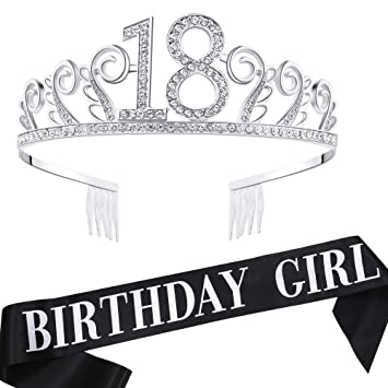 Amazon.com: Babeyond - Tiara de 18 cumpleaños y fajín de ...