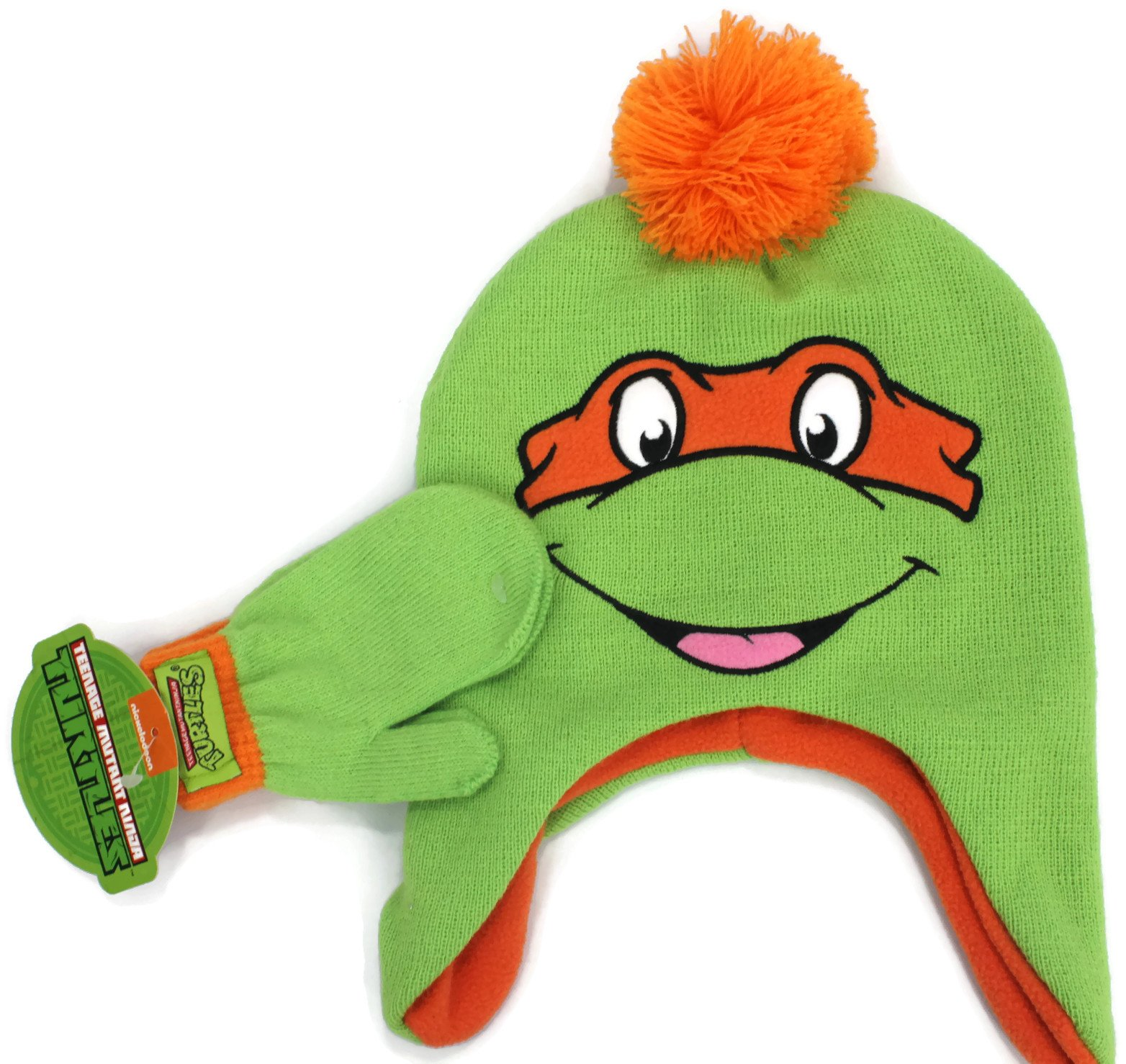 Teenage Mutant Ninja Turtles Beanie Hat with Pom & Mittens Set Little Boys' 2T-5T