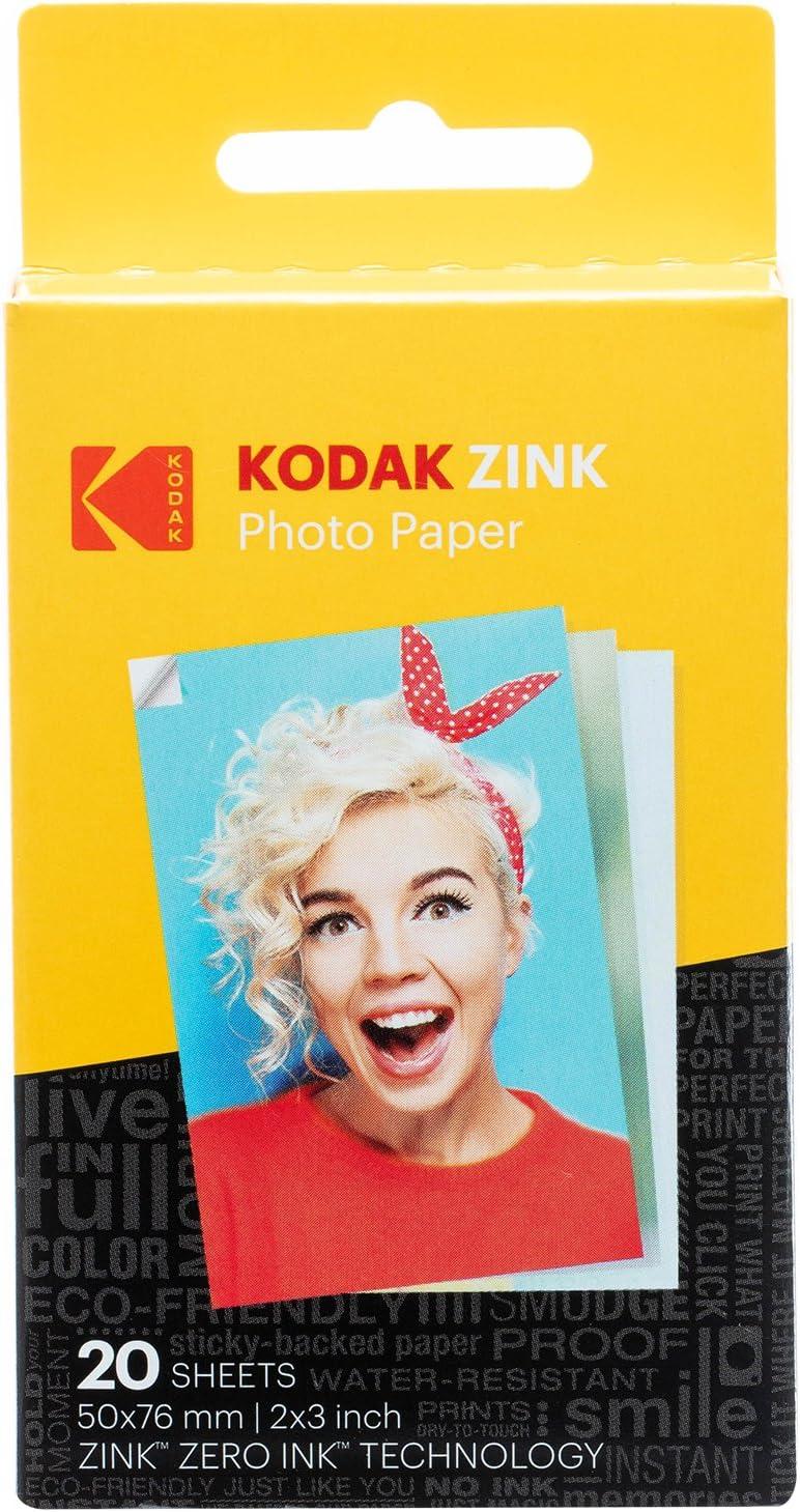 "Zink Kodak 2""x3"" Premium Zink Photo Paper (20 Sheets) Compatible with Kodak Smile, Kodak Step, PRINTOMATIC"