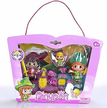 Pinypon Set con Figuras de Peter Pan, Garfio y Campanilla (Famosa ...