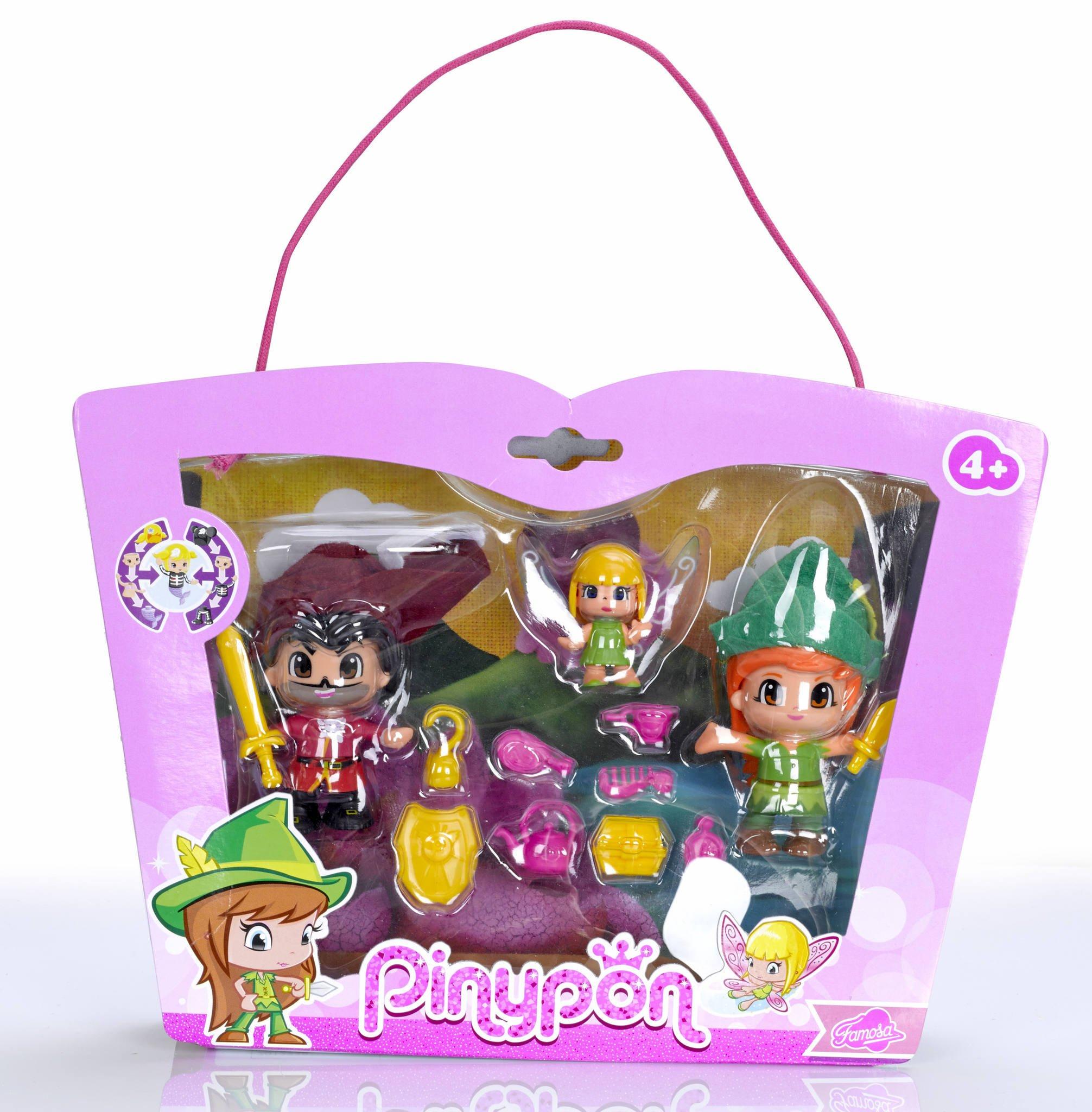 Pinypon - Set con Figuras de Peter Pan, Garfio y Campanilla (Famosa 700012738)