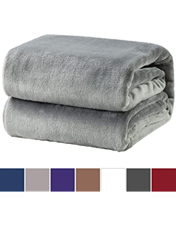 Bedsure Flannel Fleece Throw Blankets Silver Grey Travel Size - Super Soft  Fluffy Warm Solid Bed 04f92e1eb