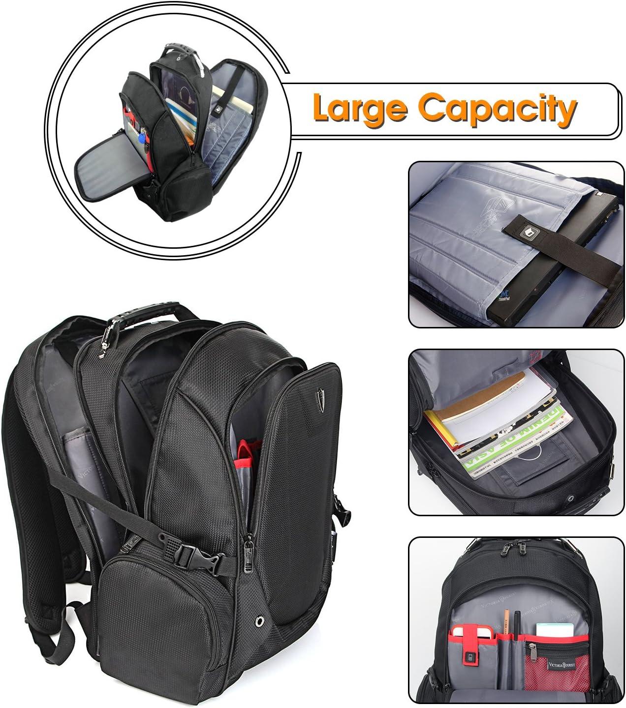 Victoriatourist V6012 Laptop Backpack College Bookbag Business Travel Bag Hiking Nylon Rucksack for Men Women Fits Macbook Pro Most 16 Inch Laptops, Black