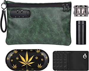 Smell Proof Bag Combo PU Leather Smell Proof Stash Container with Combination Lock 10 x 7 inches (Green)