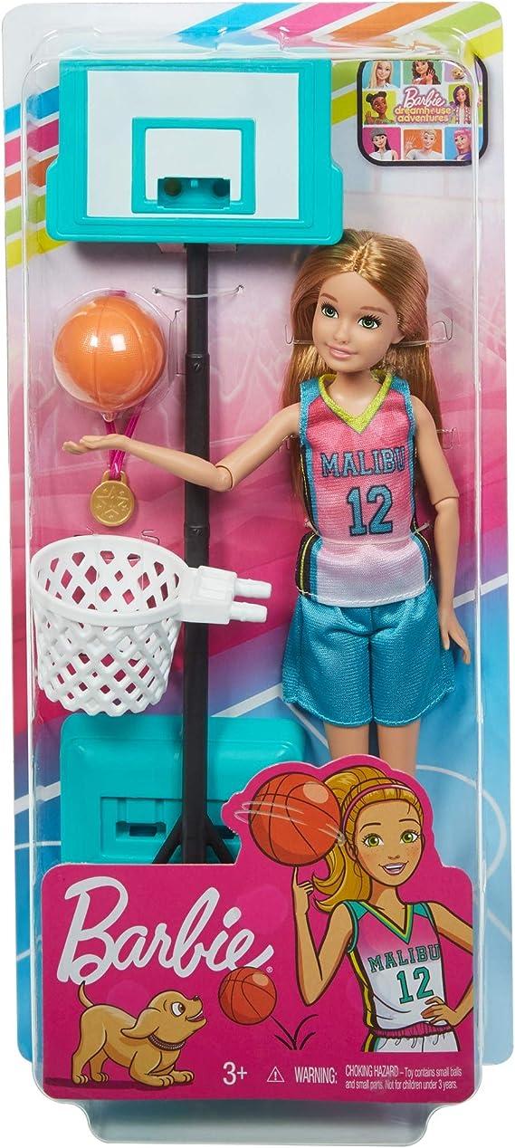 2019 Barbie Team Stacie Basketball Doll Basketball Hoop /& Ball NEW