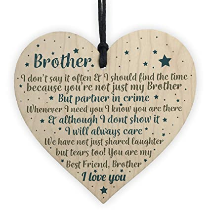 Red Ocean Thank You Best Friend Brother Gifts Wooden Heart Christmas Friendship Gift Birthday Plaque
