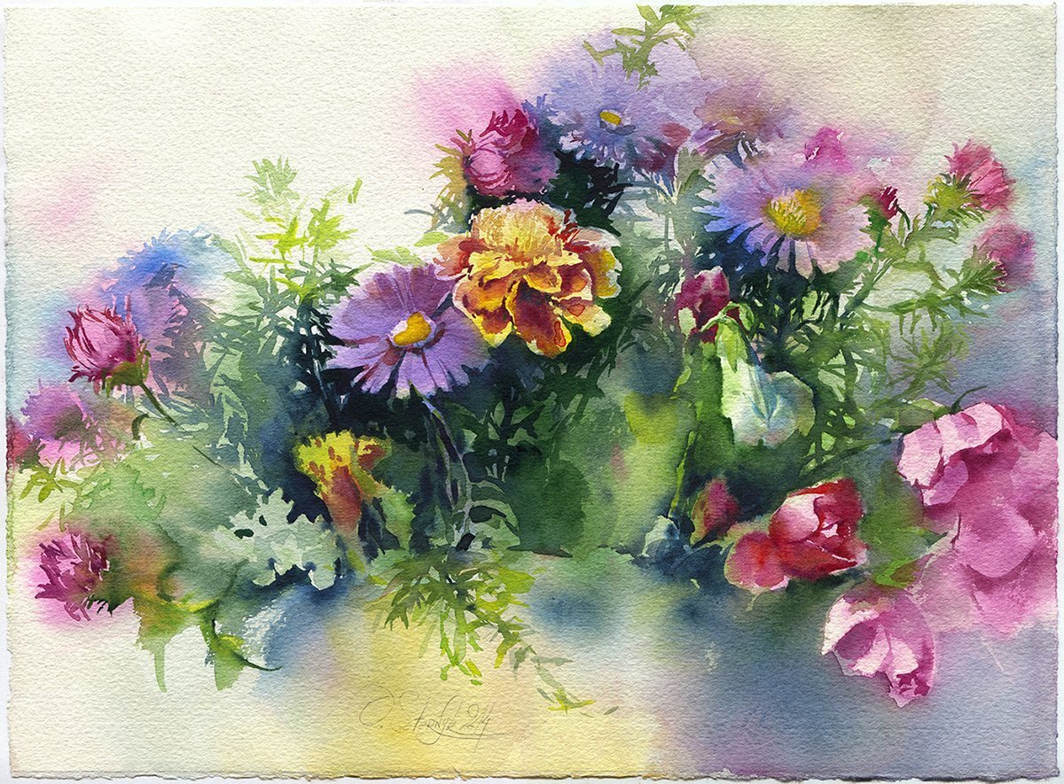 Amazon Com Fine Art Print Of Autumn Flowers Bouquet Watercolor