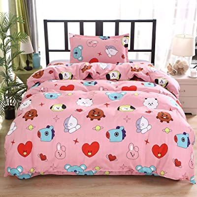 ACEFAST INC 4 Piece BTS Love Yourself Bedding Sheets Set Queen Cute Pink Flat Sheet Quilt Cover Pillow Shams Jimin Suga Junkook V Rap J-Hope Jin Cartoon Style: Home & Kitchen