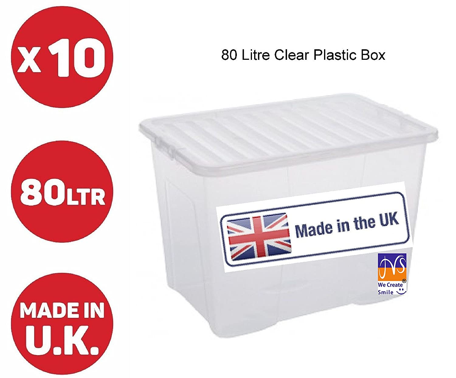 JMS® 10 x 80 LITRE PLASTIC STORAGE BOX - STRONG - EXTRA LARGE - CLEAR LID
