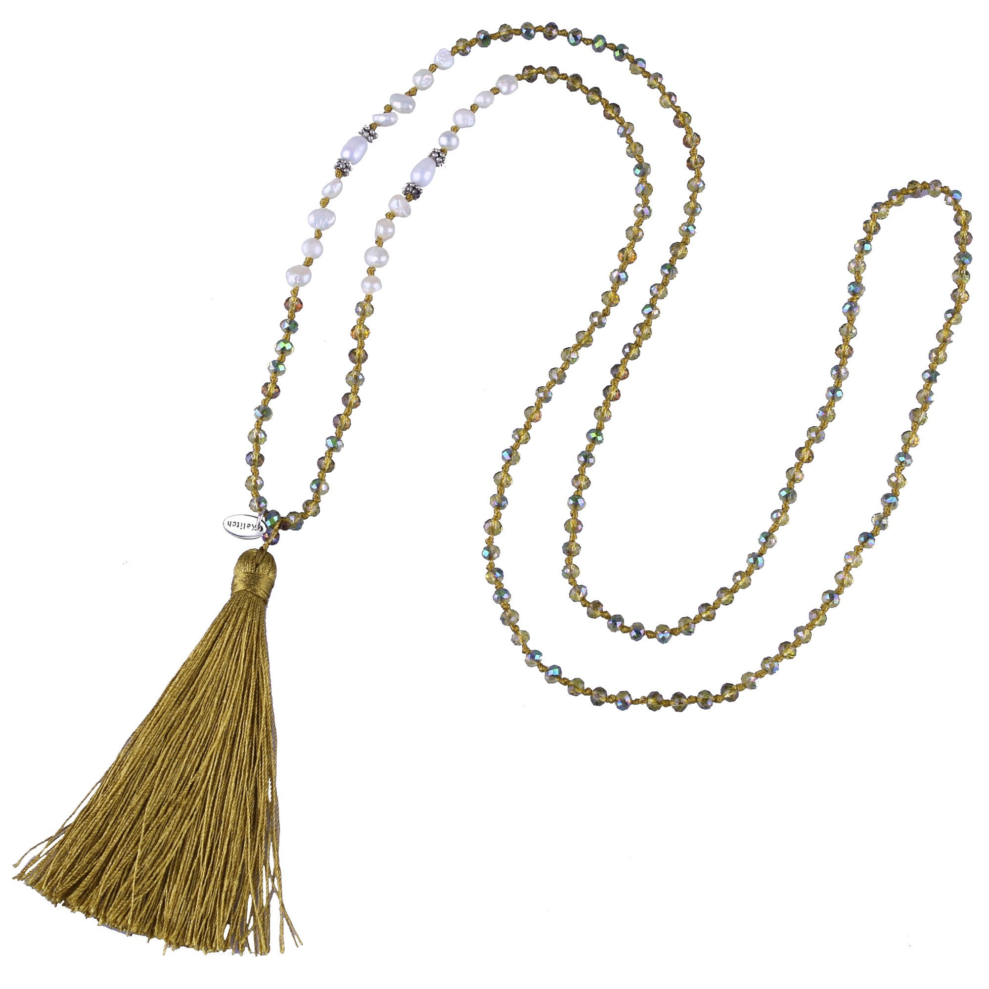 KELITCH Bohemian Tassel Pendant Necklace Shell Pearls Beads Necklace Fashion Jewelry, Yellow