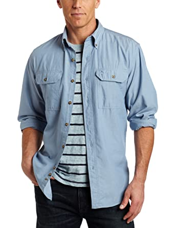 0fca6924745 Carhartt Men's Big & Tall Fort Long Sleeve Shirt Lightweight Chambray  Button Front Relaxed Fit S202 at Amazon Men's Clothing store: