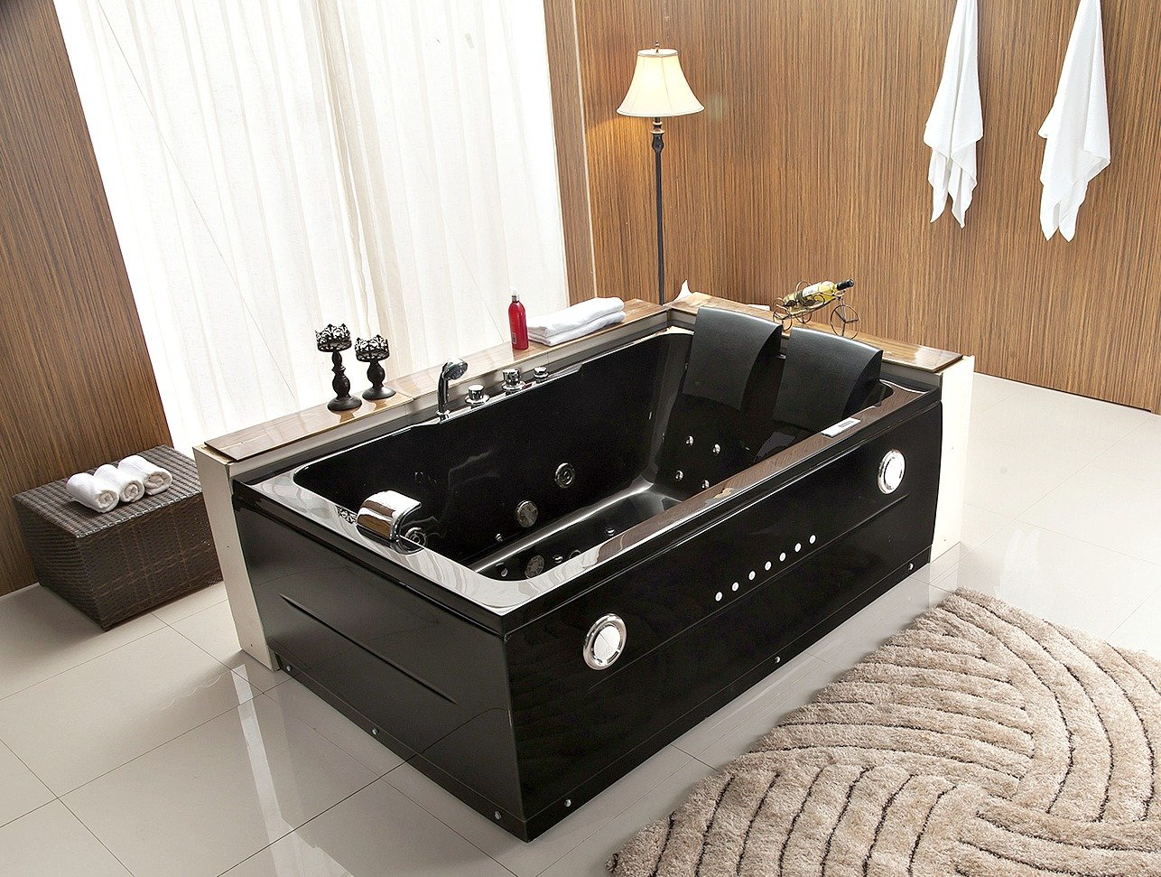 2 Person Bathtub Black Jacuzzi Type Whirlpool 14 Massage Jets Built ...