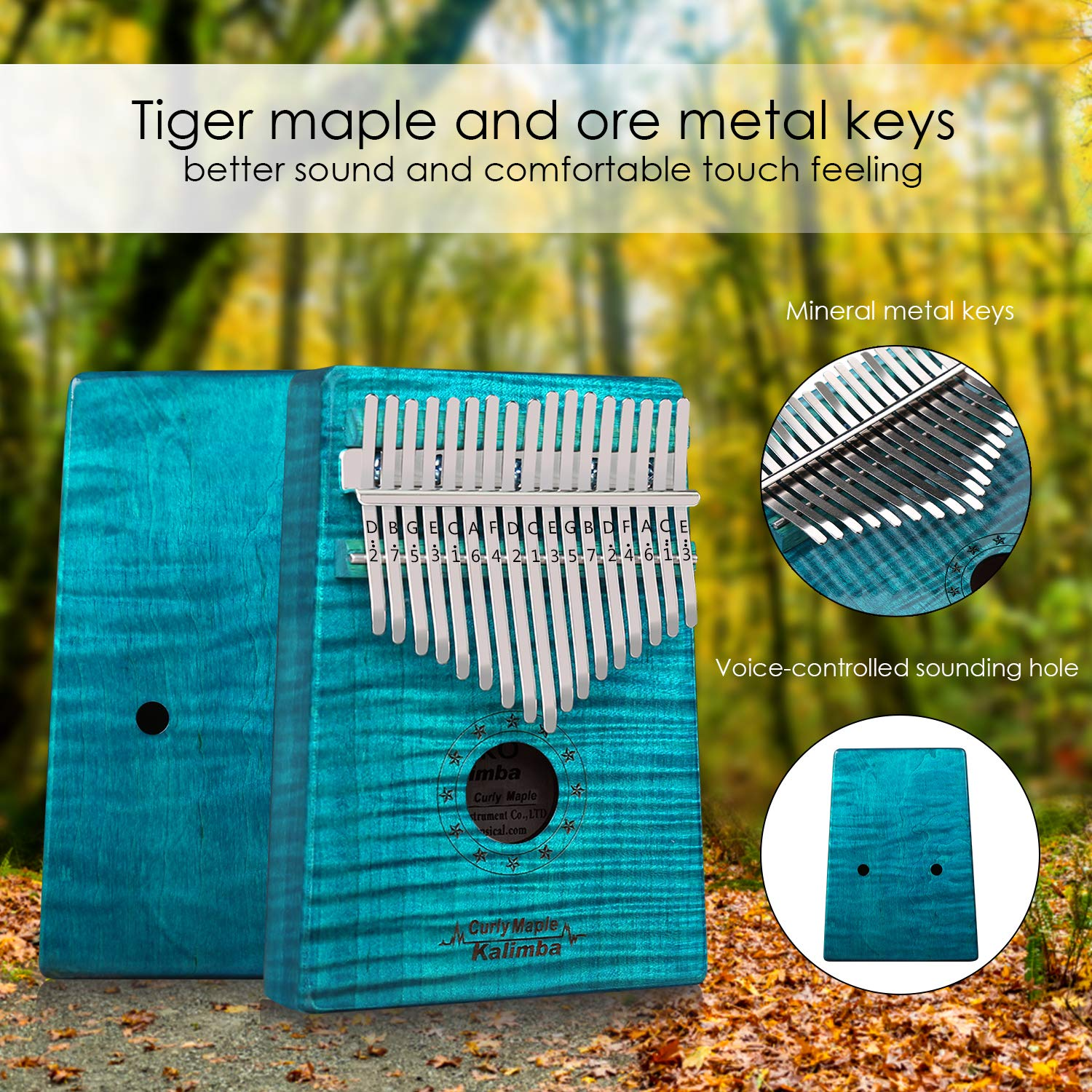 GECKO Kalimba 17 Key Thumb Piano with Hardshell Case Study Instruction Song Book Tuning Hammer for Beginners C Tone Tuned (Blue) by MYTTLELE (Image #3)