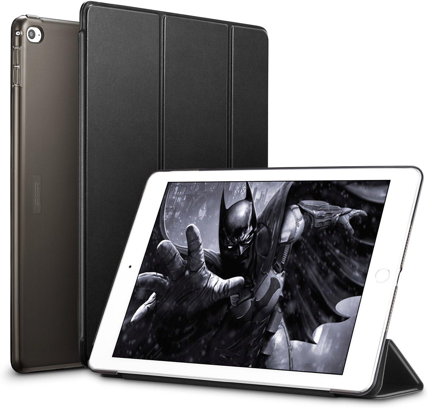 ESR Funda iPad Air 2 Silicona [Auto-Desbloquear] y Función de Soporte [Ligera] de Cuero Sintético y Plástico Duro Transparente Esmerilado Smart Cover Cáscara para iPad Air 2 -Negro