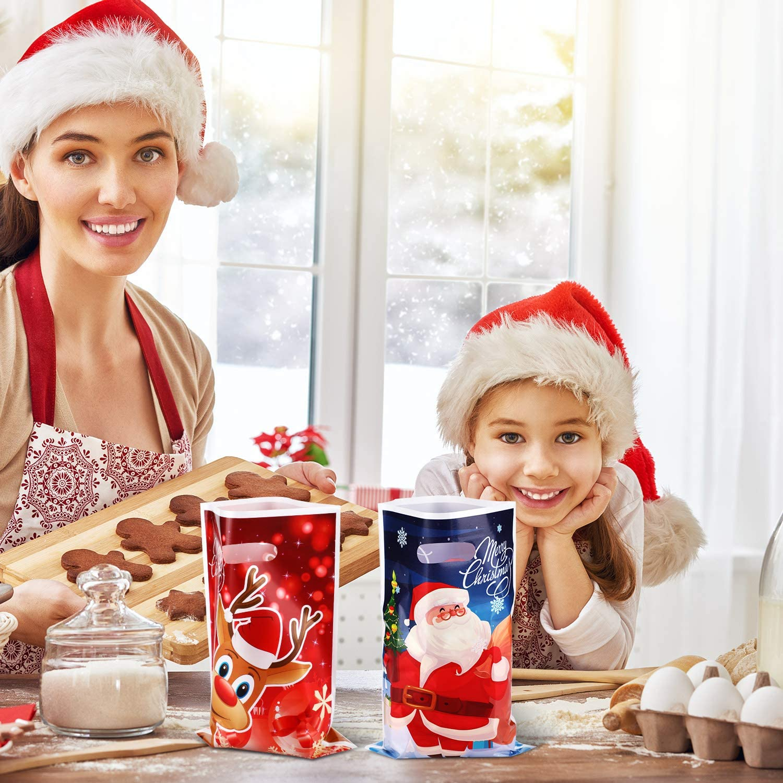 Colore Set 1 100 Pezzi Sacchetti da Regalo di Natale Sacchetti di Caramelle di Plastica di Natale Borse per Feste per Rifornimenti di Imballaggio della Festa di Natale