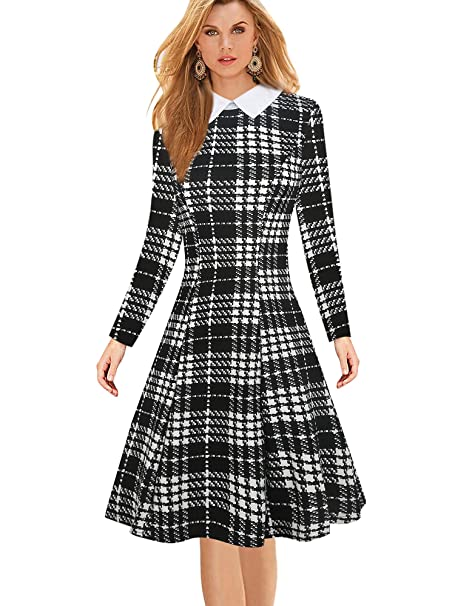oxiuly Women's Long Sleeve Classic Turn Down Collar Black Plaid Casual A-Line Dress OX272 (M, Black Plaid)