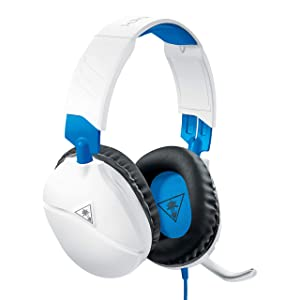 Turtle Beach Recon 70 White Gaming Headset for PlayStation 4 Pro, PlayStation 4, Xbox One, Nintendo Switch, PC, and Mobile - PlayStation 4 (Color: White/Blue)