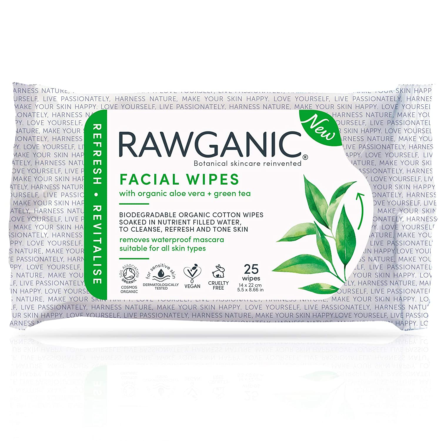 RAWGANIC Refreshing Facial Wipes, Fragrance-free Biodegradable Organic Cotton Wipes with Aloe Vera and Green Tea (25-Count)