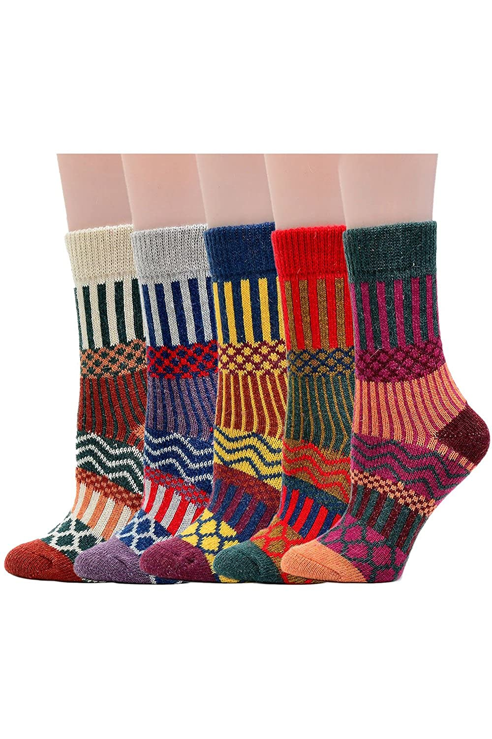 Elisona/®5 Pairs of Women Ladies Girls Mixed Colors Winter Warm Thickness National Style Tube Socks