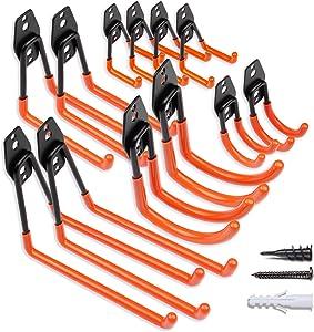 Garage Hooks Garage Hangers, Steel Utility Hooks, Easy to Install Garage Storage Hooks, Wall Hooks Heavy Duty for Organizing Large Power Tools, Anti Slip Design, Assorted Pack of 12