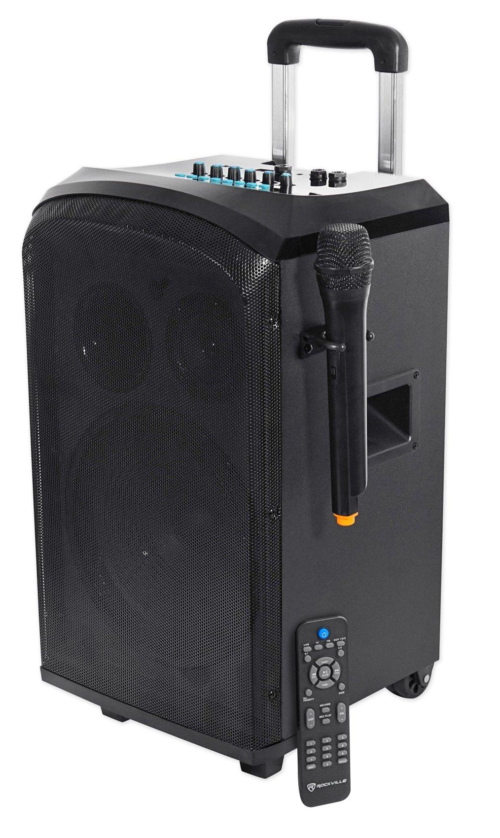 Rockville ROCKnGo 10'' Rechargable Home Theater Bluetooth Speaker+Wireless Mic