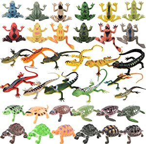 Trounistro 36 Pack Realistic Sea Turtle Colorful Fake Plastic Lizard Poison Dart Frogs Animals Frog Educational Toys for Kids Adults Gifts