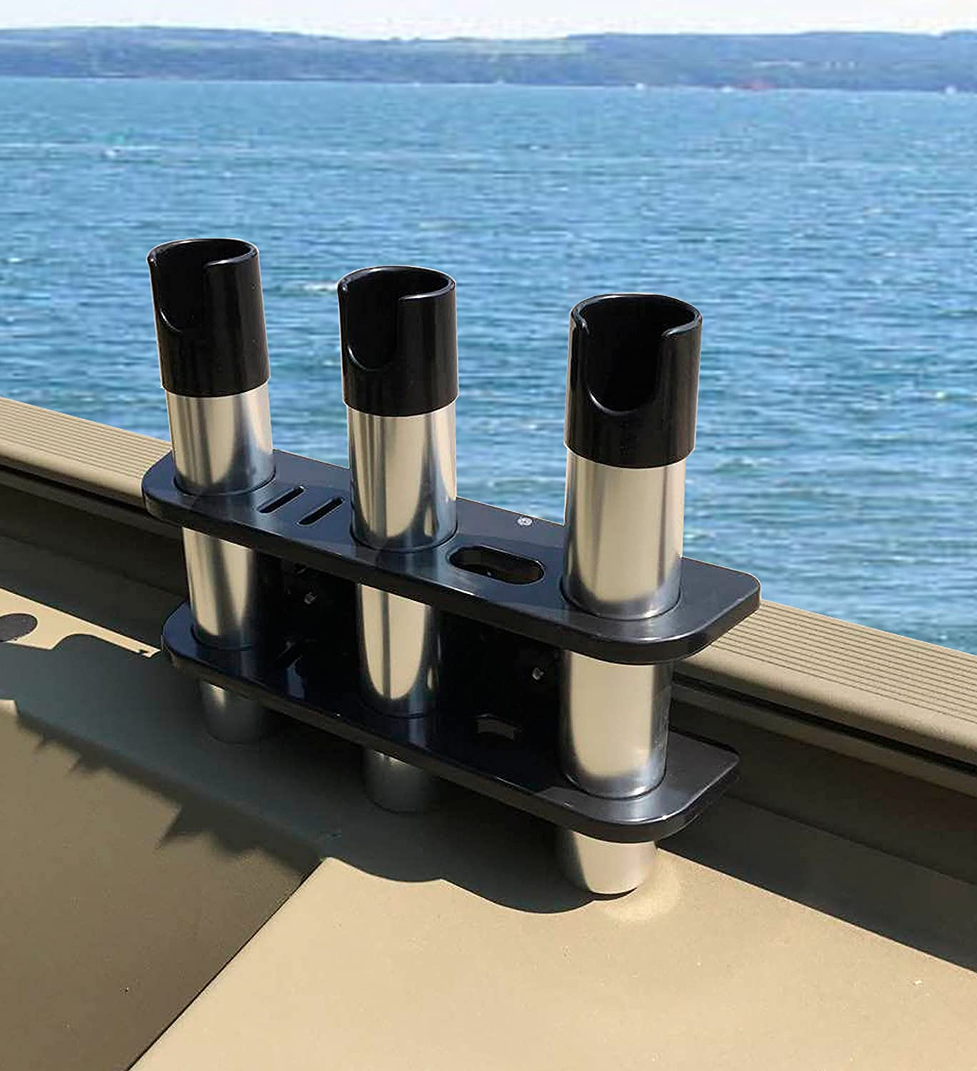 Brocraft Rod Holder for Tracker Boat – Versatrack System -3 Rods Storage -Black